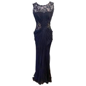 Tadashi Shoji Black Beaded Sequin Ball Gown Size 2EUC